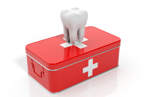Rendering of tooth on emergency kit. Diagram provided by HomeTown Dental at Alliance in Fort Worth, TX